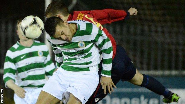 Mark Miskimmin of Donegal Celtic gets the ball before Lisburn Distillery's Andrew Ferguson