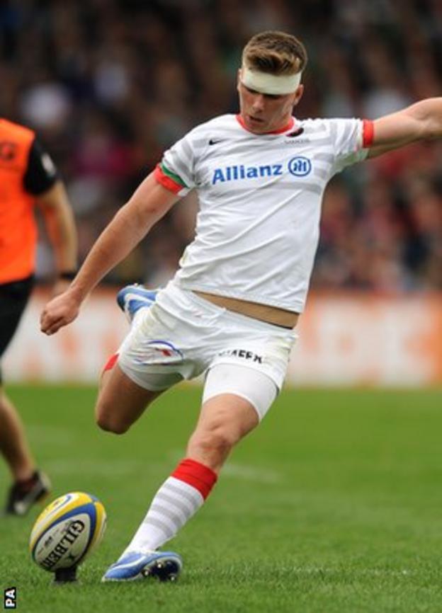Owen Farrell kicks a penalty at the weekend