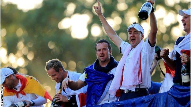 The European team celebrate their success at Medinah
