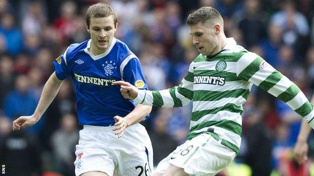 Former Rangers midfielder Jamie Ness and Celtic's Gary Hooper tussle last season