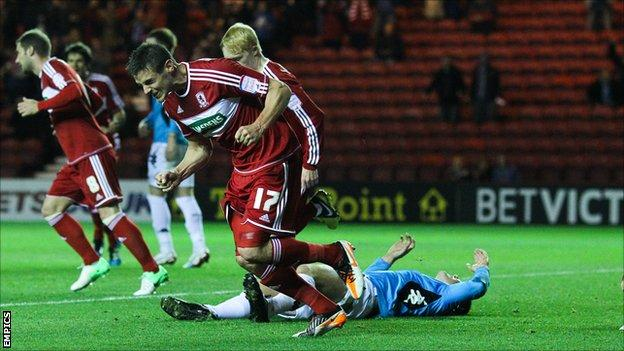 Lukas Jutkiewicz scores for Middlesbrough against Derby
