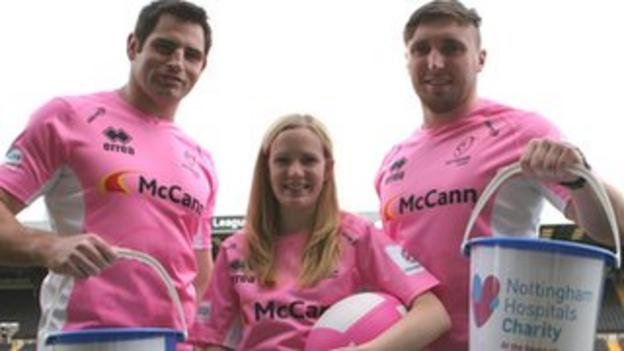 Nottingham's Brent Wilson (l) and Tom Calladine (r) with Samantha Gathercole from the Nottingham Hospitals Charity