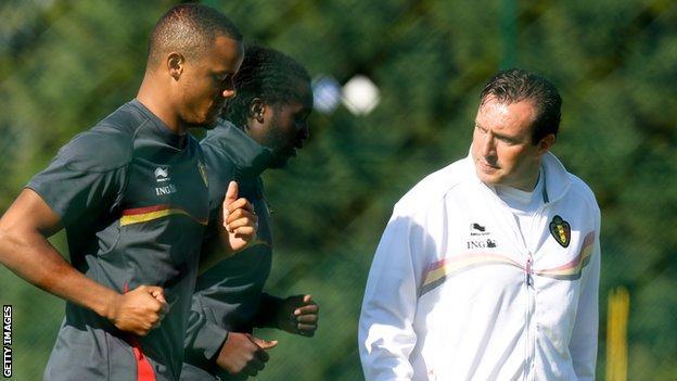 Vincent Kompany, Romelu Lukaku and coach Marc Wilmots