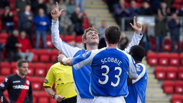 Davidson celebrates after scoring against St Mirren