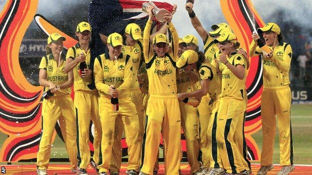 Australia celebrate with the World Twenty20 trophy