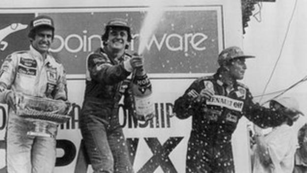 Alain Prost (centre) and Rene Arnoux (right)