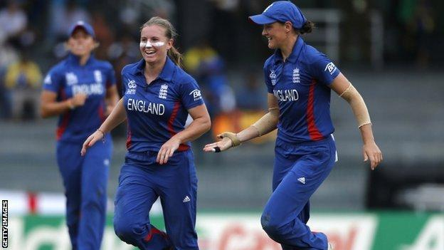 England's Holly Colvin celebrates a wicket