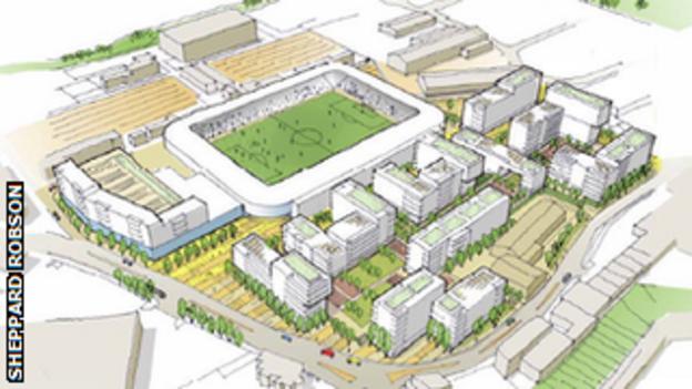An artist's impression of the Greyhound Racing Association's proposal for the redevelopment of Wimbledon Greyhound Stadium
