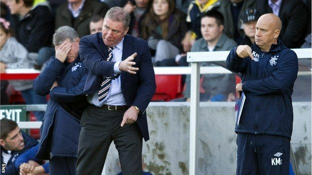 Ally McCoist urges his Rangers players on against Stirling Albion