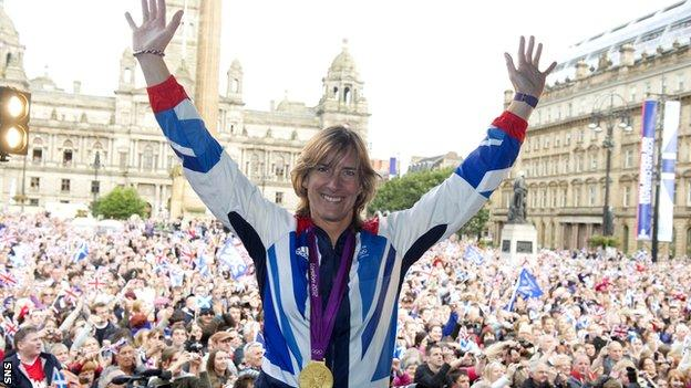 Katherine Grainger is welcomed by Scottish fans in Glasgow