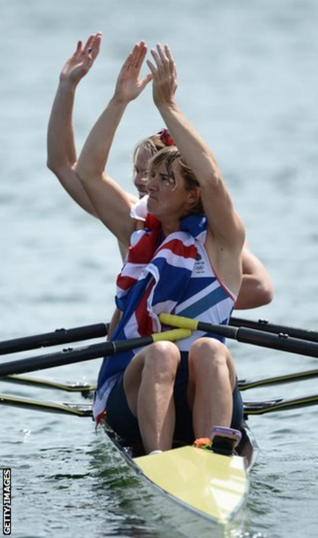 Grainger and Anna Watkins celebrate at the end of their gold medal race
