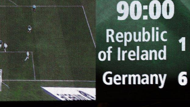 The final score between the Republic of Ireland and Germany