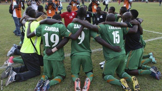 Zambia celebrate qualifying for the 2013 Cup of Nations
