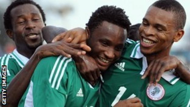 Jon Obi Mikel (centre) celebrates scoring for Nigeria