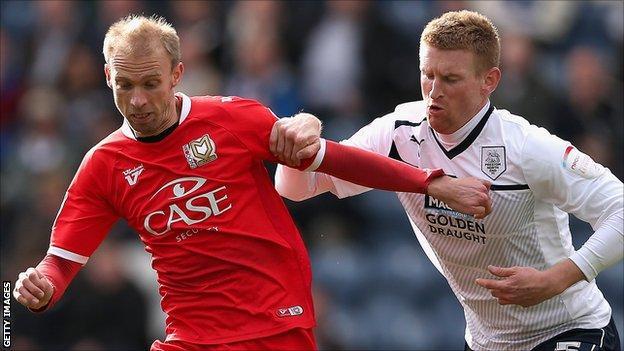 Preston defender Chris Robertson in action against MK Dons on Sunday