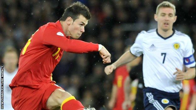 Gareth Bale scoring the winner in the 2-1 victory over Scotland