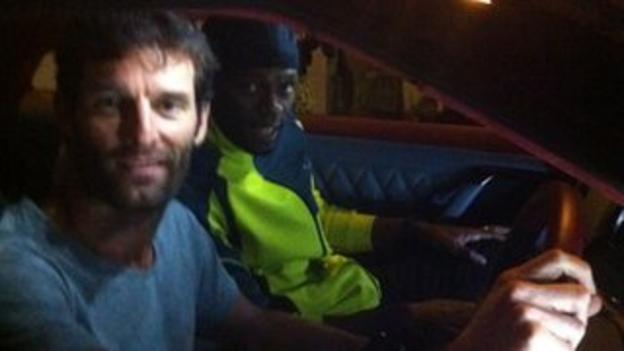 Mark Webber meets Usian Bolt in Japan