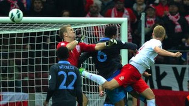 Kamil Glik (right) heads in Poland's equaliser against England