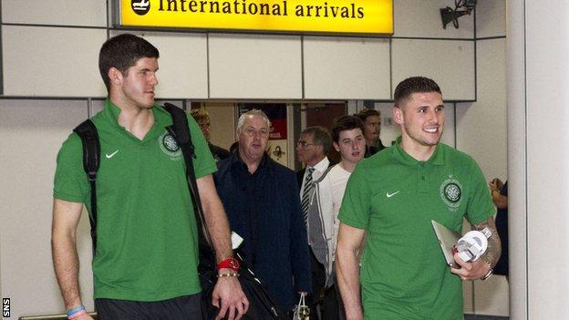 Celtic's Fraser Forster and Gary Hooper
