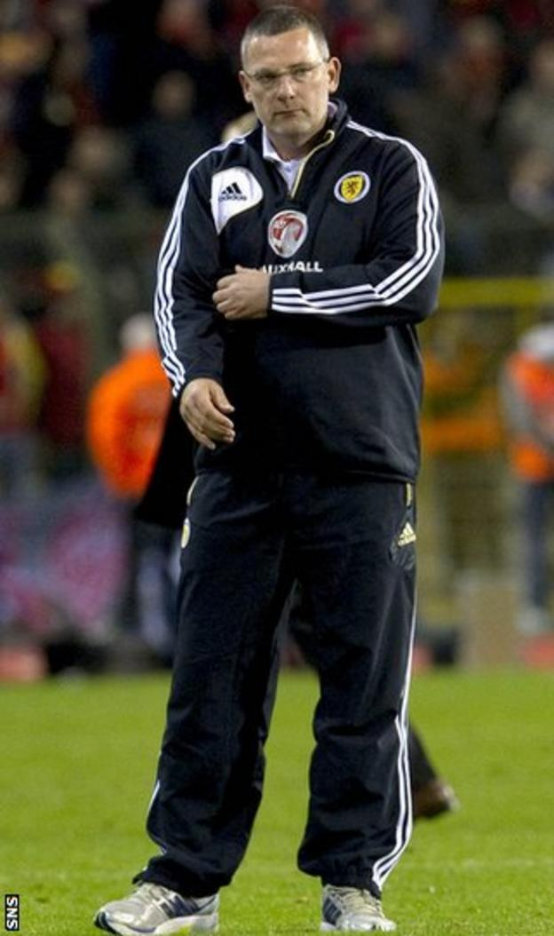 Levein looks under pressure after the 2-0 defeat by Belgium on Tuesday