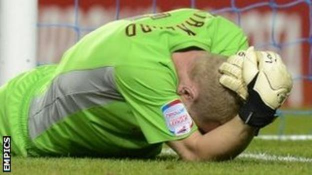 Sheffield Wednesday goalkeeper Chris Kirkland after he was attacked by a supporter