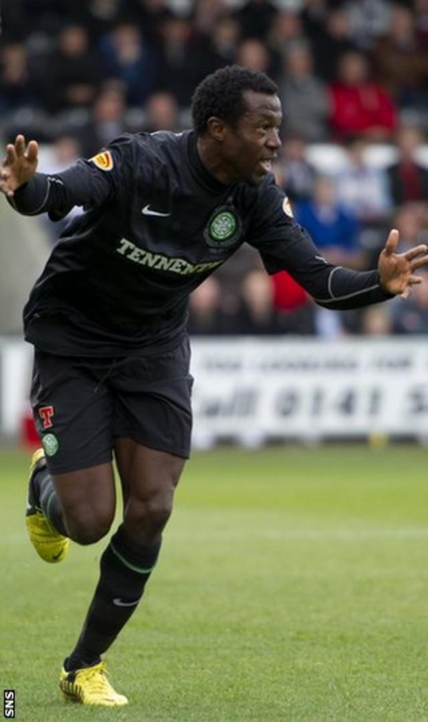 Ambrose celebrates after scoring his first goal since joining Celtic in the summer