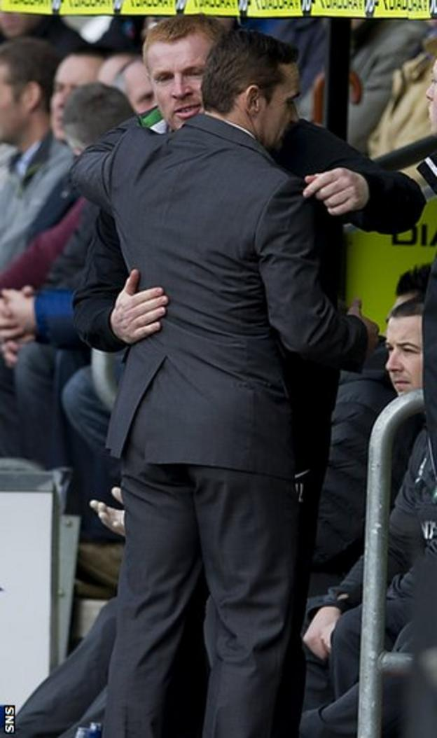 Danny Lennon is consoled by namesake Neil, the Celtic manager