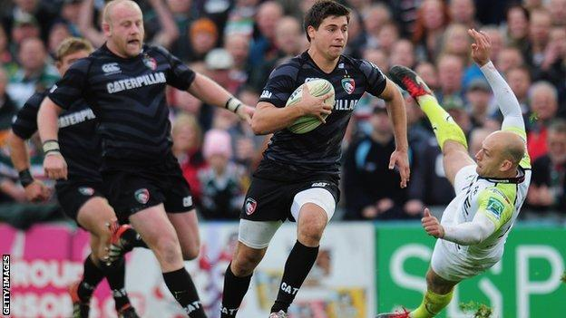 Ben Youngs on the charge for Leicester against Ospreys