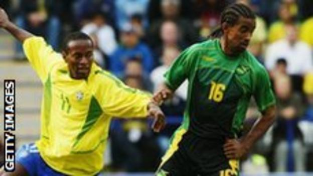 Richard Langley in action for Jamaica against Brazil
