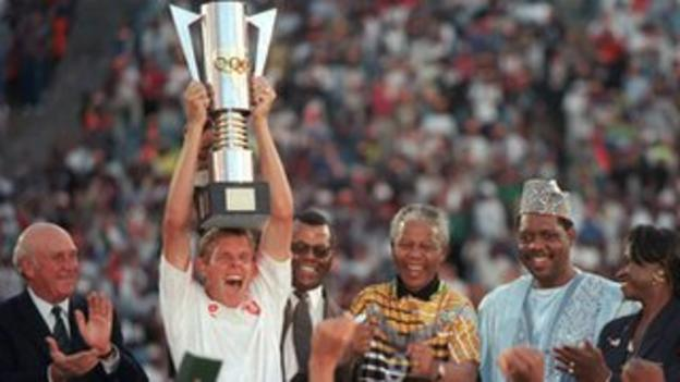 Neil Tovey lifts the Africa Cup of Nations