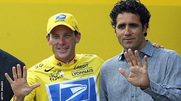 Lance Armstrong and Miguel Indurain