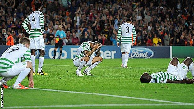 Celtic lost to an injury-time goal at the Nou Camp