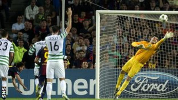 Fraser Forster made two great saves to deny Lionel Messi