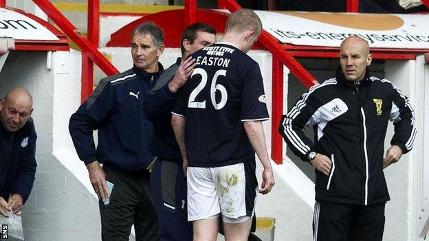 Easton heads off after three minutes at Pittodrie