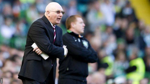Hearts manager John McGlynn and Celtic counterpart Neil Lennon