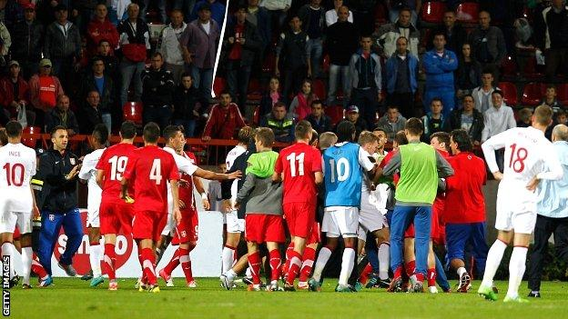 The Euro 2013 play-off ended in a mass brawl in Krusevac