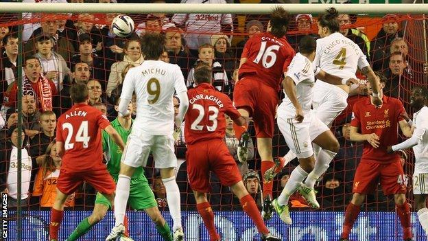 Chico heads Swansea in front against Liverpool
