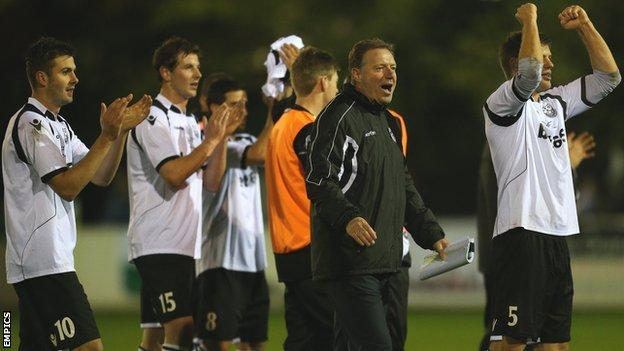 Cambridge City celebrate their FA Cup first-round draw with MK Dons