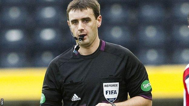 Referee Euan Norris at Rugby Park