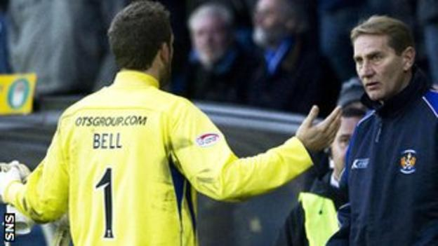 Kilmarnock goalkeeper Cammy Bell complains about his red card