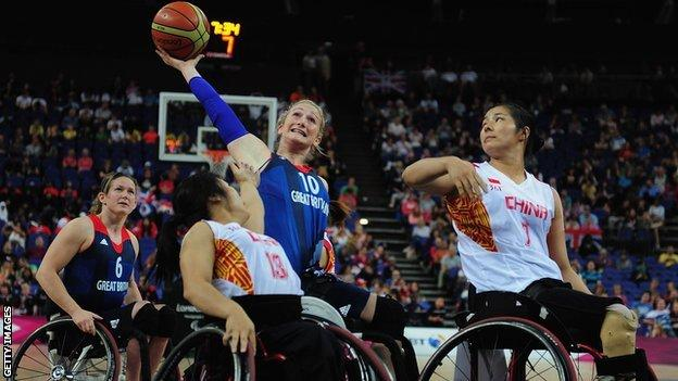 Britain's Amy Conroy goes for a shot at London 2012