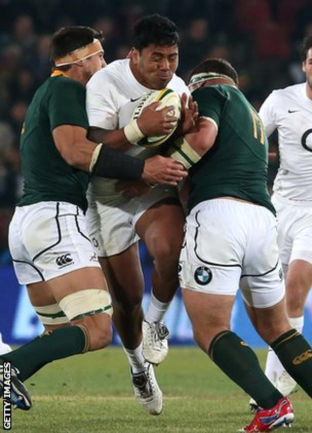 Manu Tuilagi on the charge against South Africa