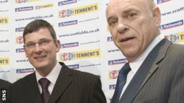 Levein is welcomed into the job by Peat when he was SFA president