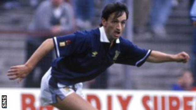 Pat Nevin in action for Scotland