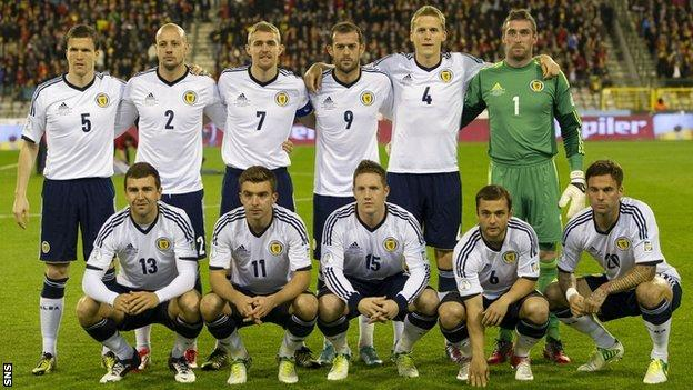 The Scotland team line up before the 2-0 defeat by Belgium