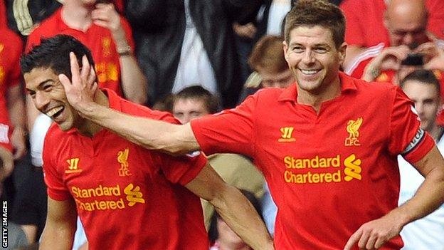 Luis Suarez (left) and Steven Gerrard
