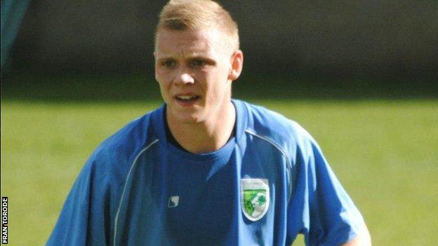 Guernsey FC's Ben Coulter was sent off