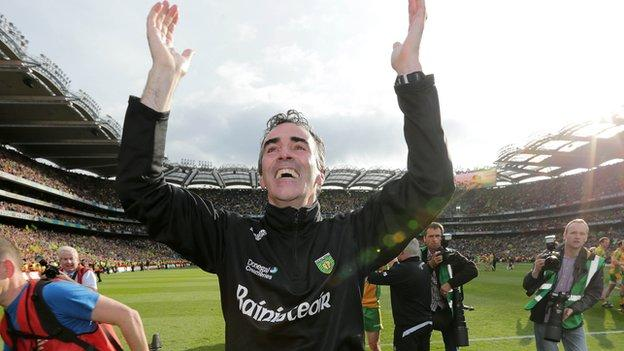 Jim McGuinness celebrates the All-Ireland triumph