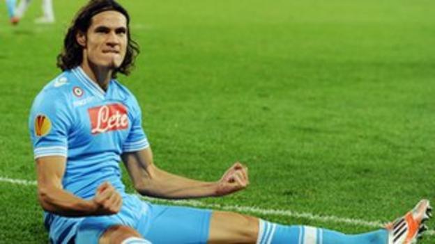 Napoli's Edinson Cavani celebrates his hat-trick goal