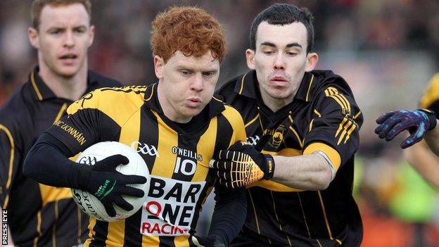 Crossmaglen's two-goal hero Kyle Carragher is challenged by St Eunan's Conor Park
